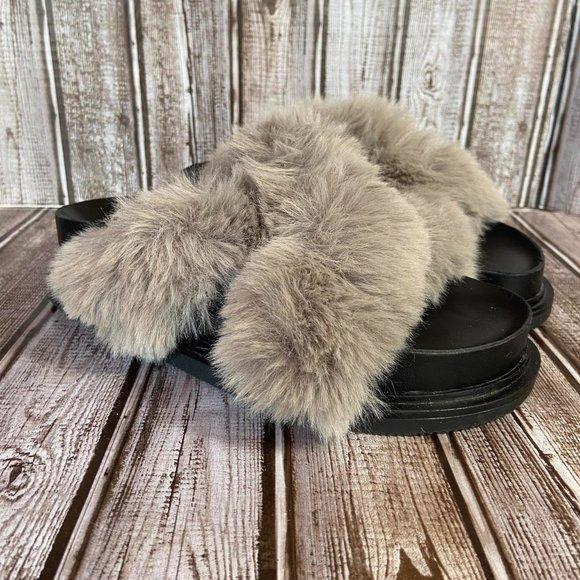 Zara platform fuzzy sandals like new 8